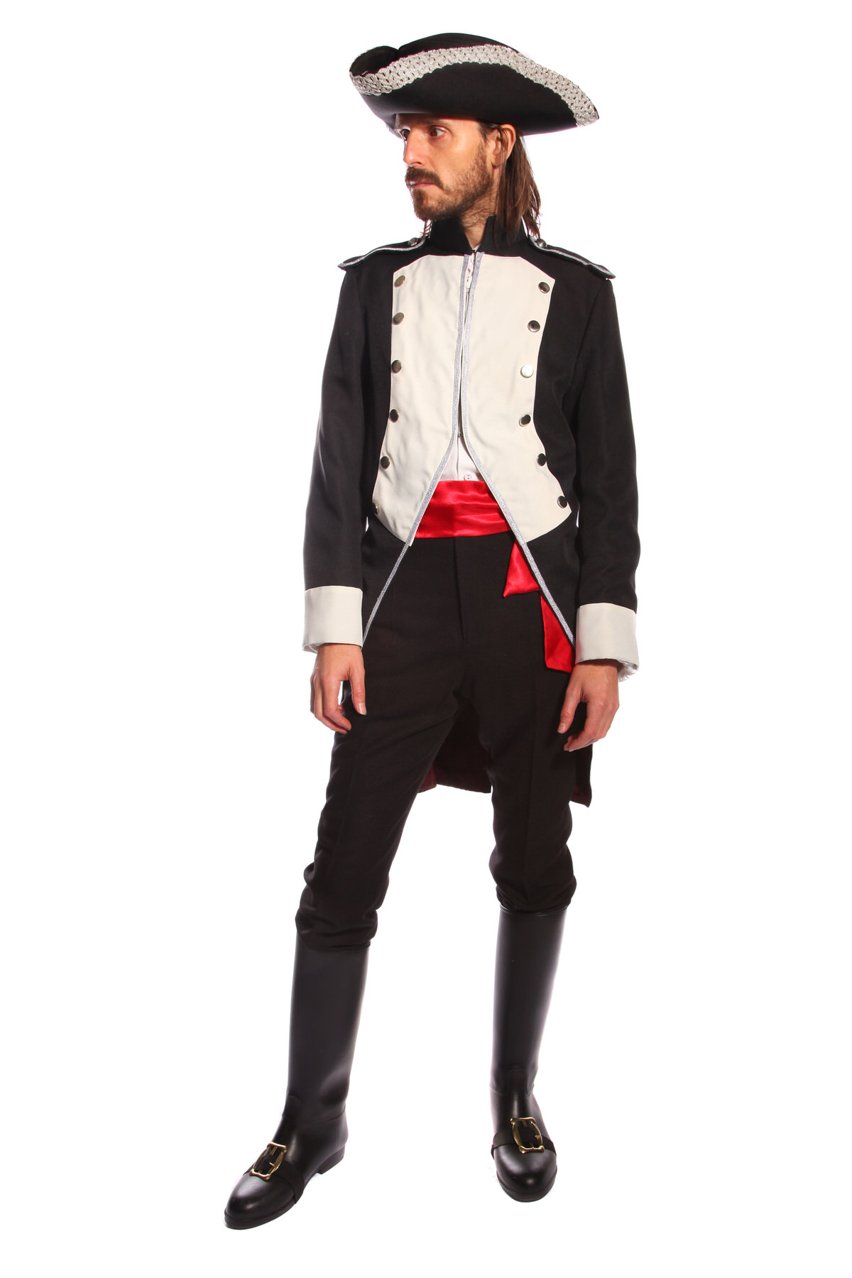 BLUE COAT NAVAL MAN'S COSTUME W LONG BOOTS