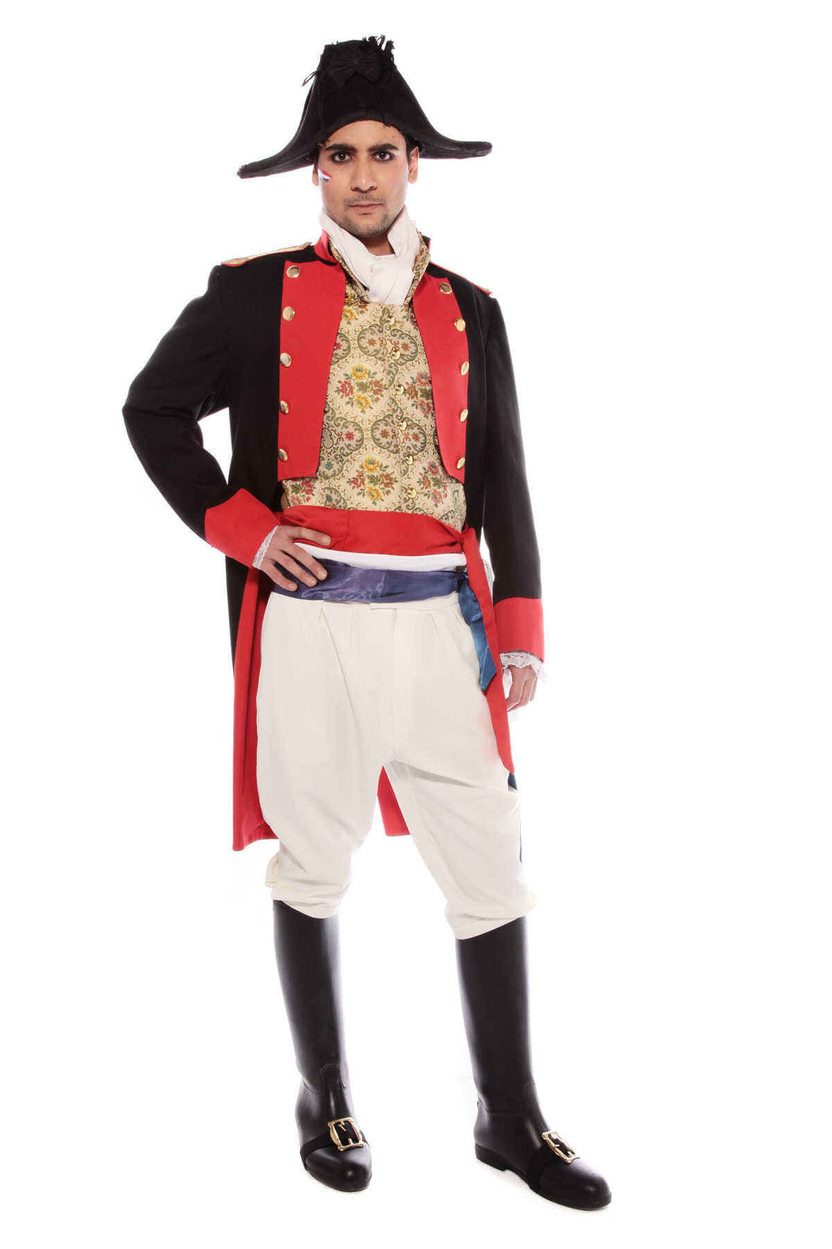 NAPOLEONIC NAVAL OFFICER COSTUME W BICORN HAT