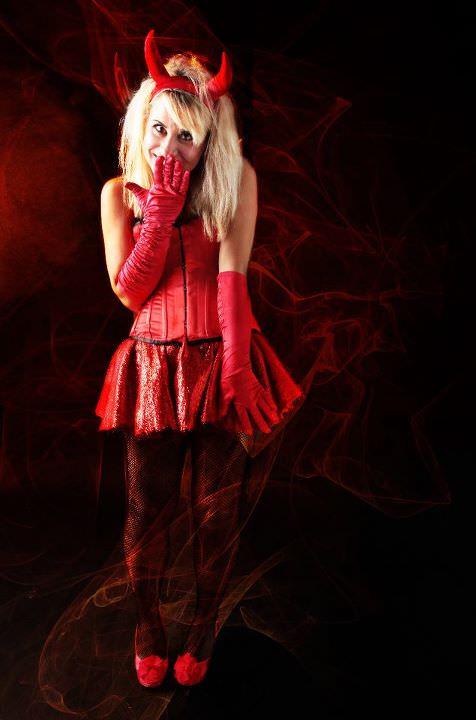 RED CORSET DEVIL COSTUME W SKIRT & GLOVES