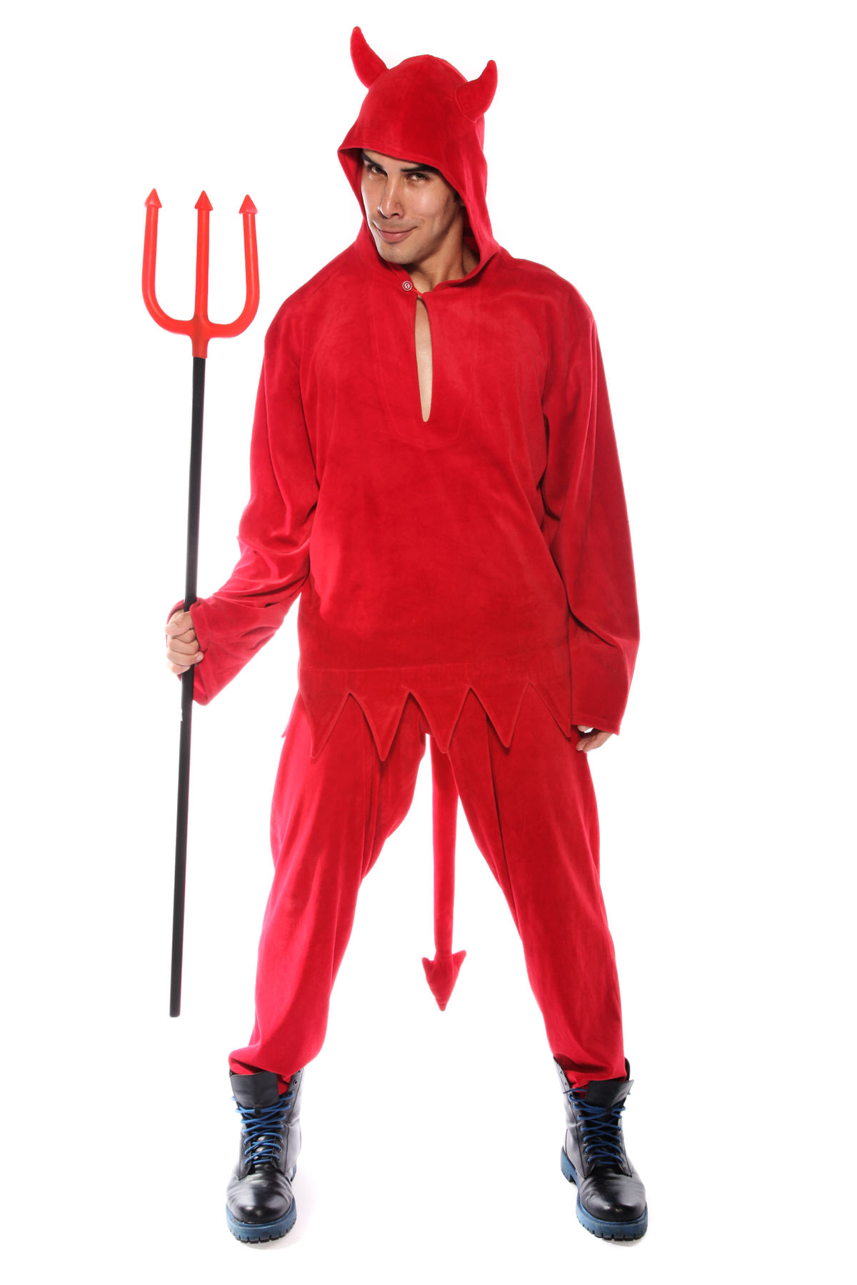 RED DEVIL VELOUR HOODIE TRACKSUIT  COSTUME & HORNS