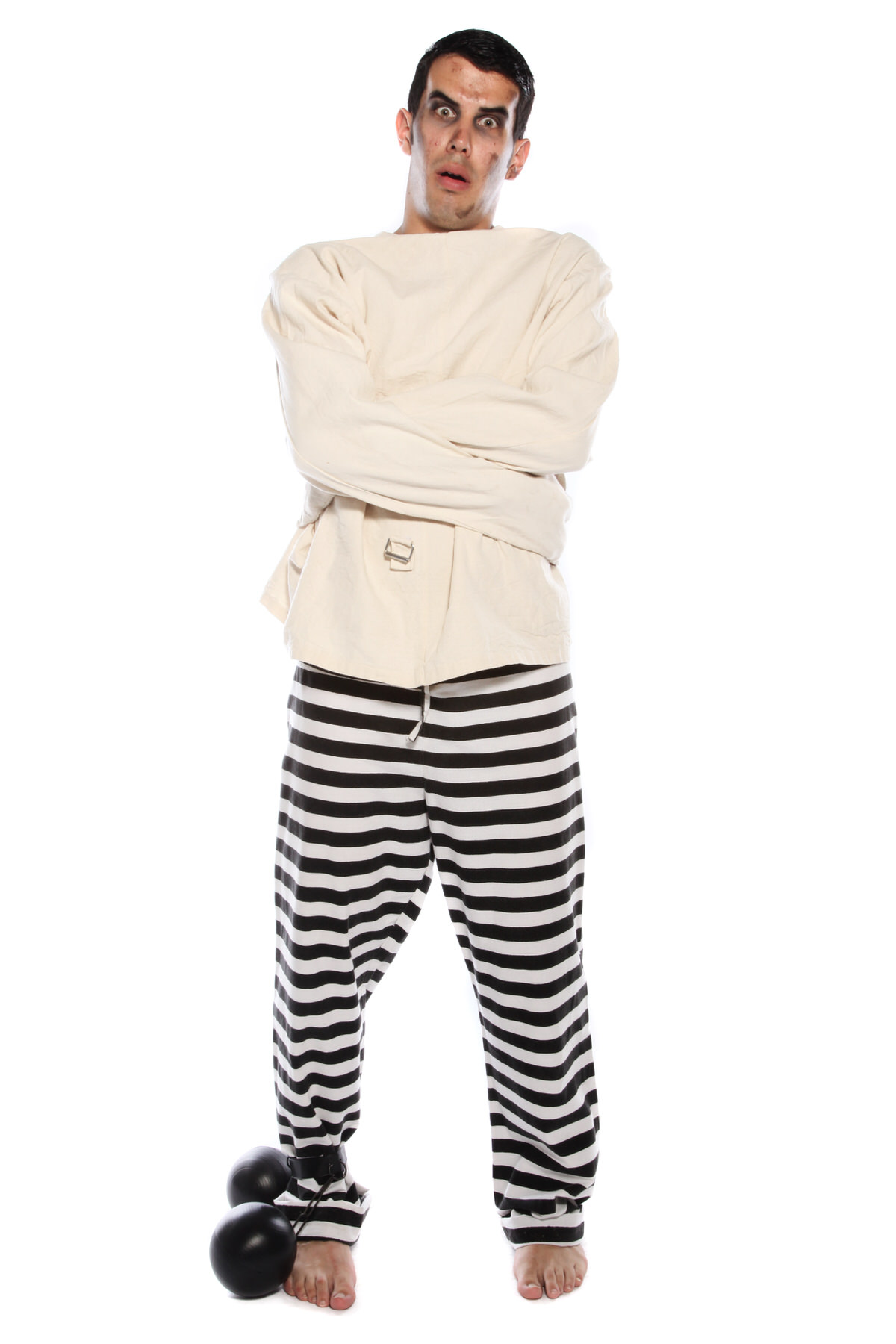 STRAIGHT JACKET PSYCHOPATH COSTUME W BALL AND CHAIN