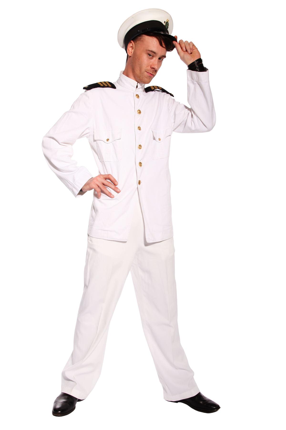 SEA CAPTAIN WHITE COSTUME W PEAKED CAP