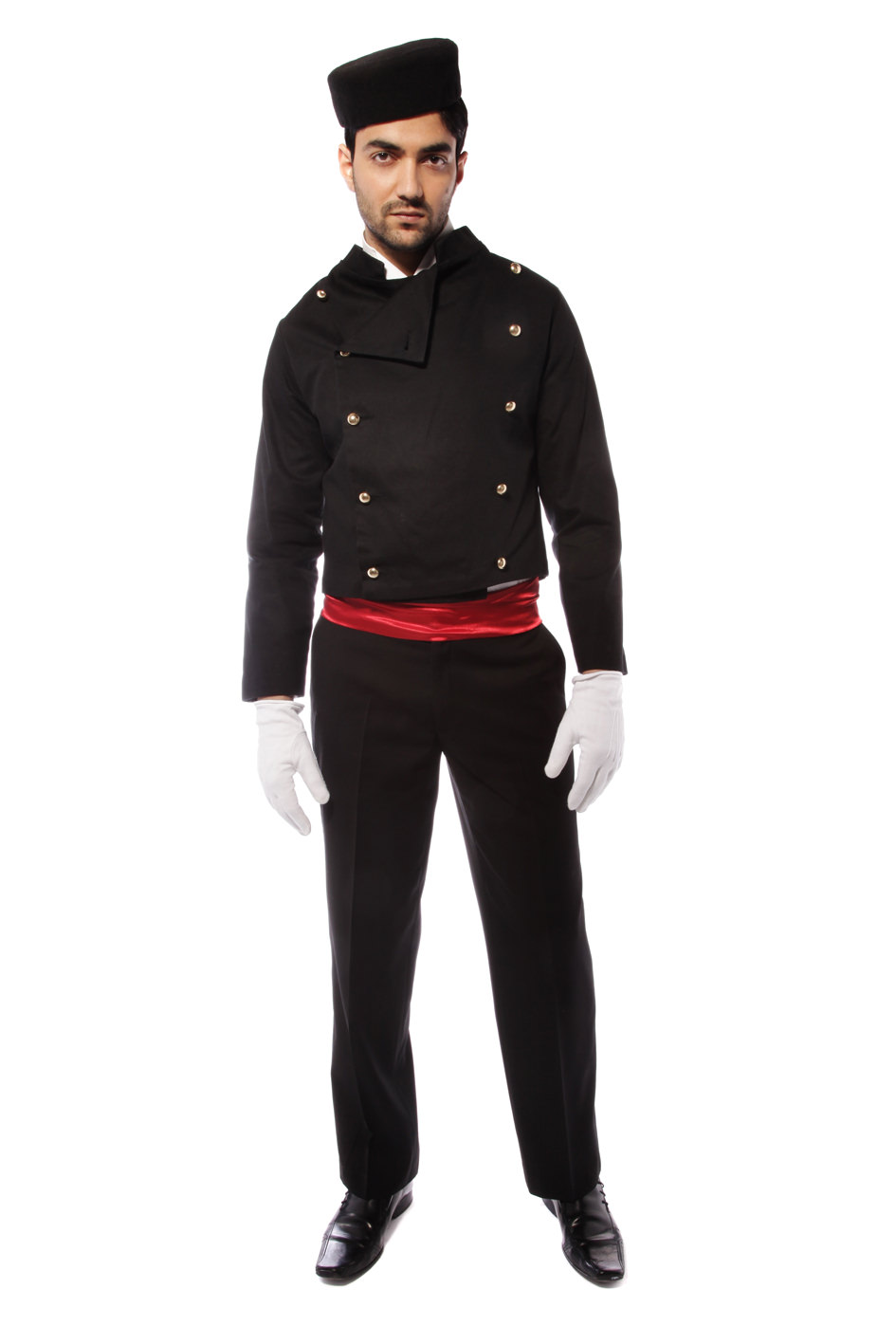 BELL BOY BLACK COSTUME WITH RED SASH