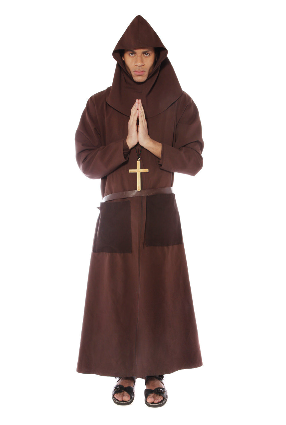 MONK COSTUME WITH BROWN HOODED CAPELET