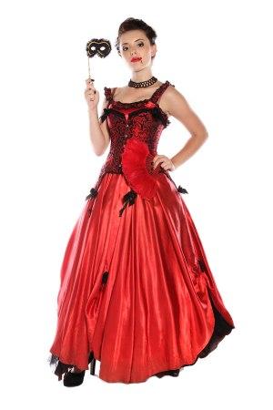 VAMPIRE PRINCESS LONG RED SATIN DRESS COSTUME front