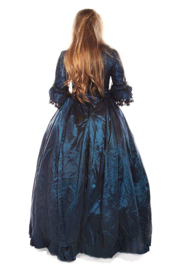 Victorian zombie Blue tafeta dress B