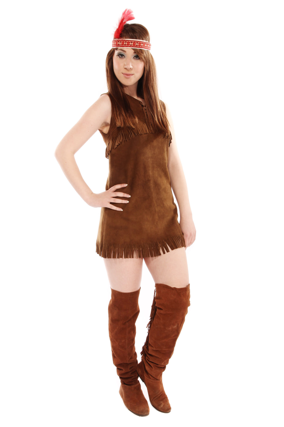 POCAHONTAS STYLE COSTUME W HEAD-DRESS OR FEATHERS