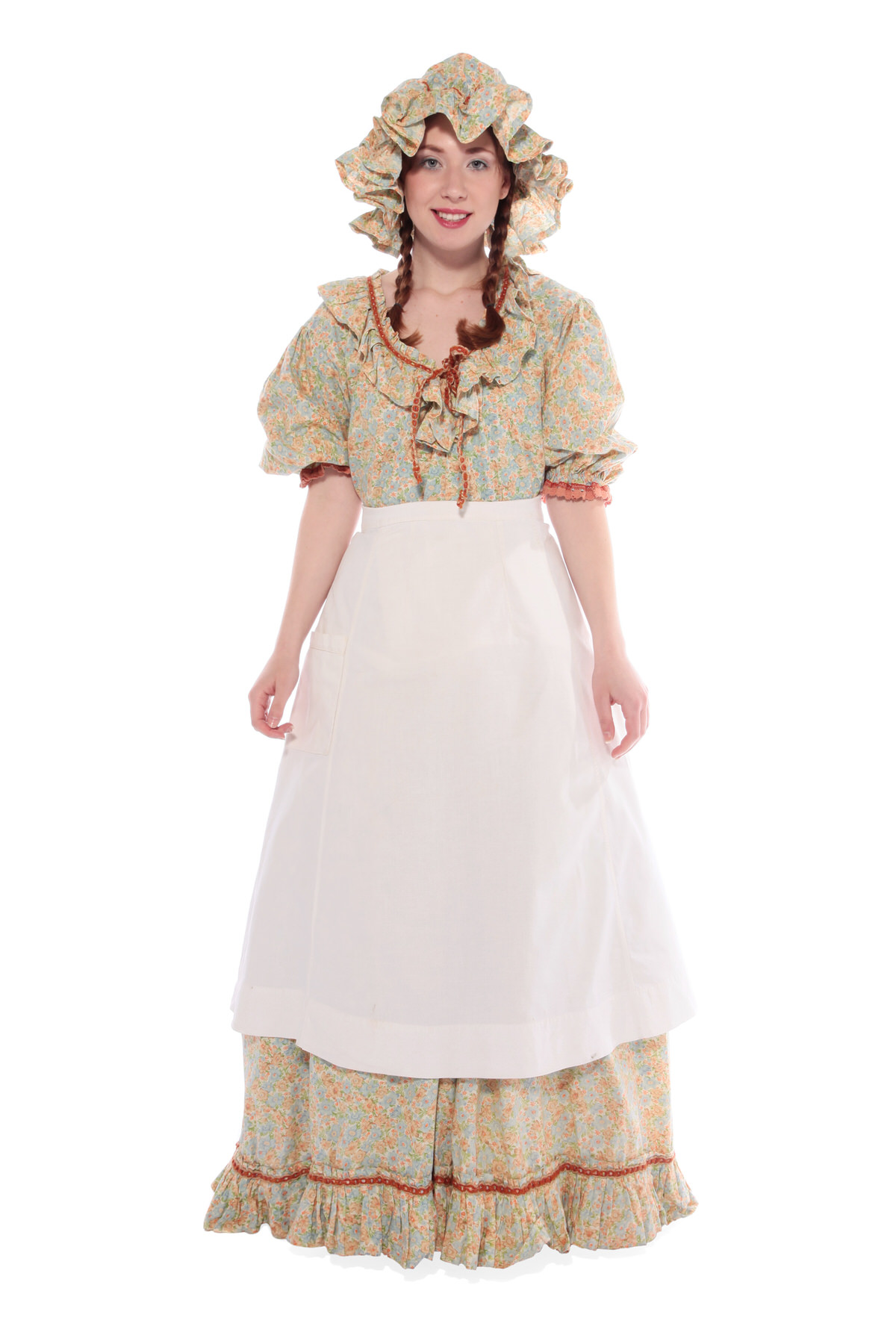 PRAIRIE GIRL COSTUME W PATTERNED LONG DRESS