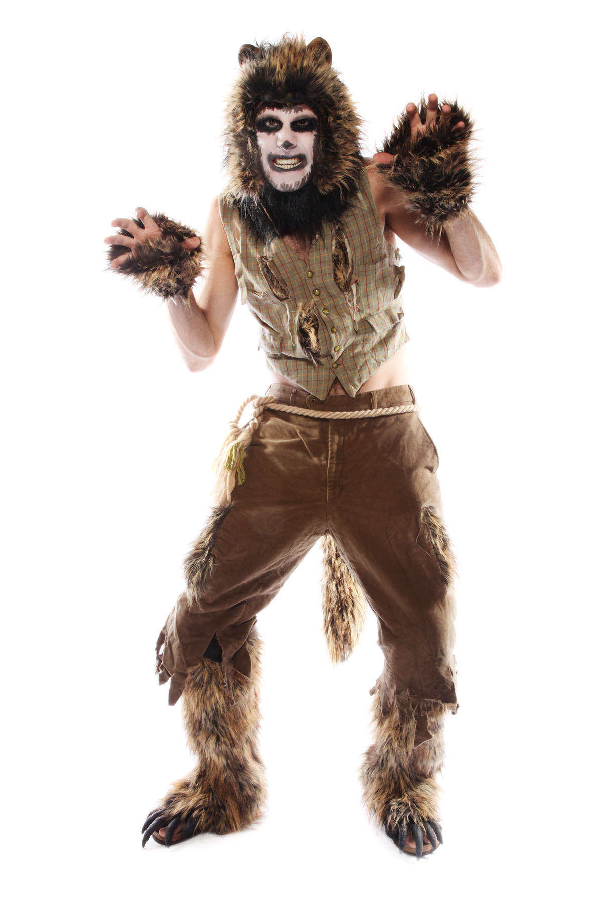FURRY WEREWOLF COSTUME W GLOVES AND BOOTS