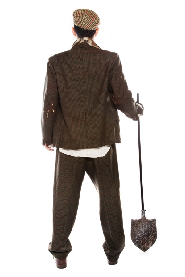 ZOMBIE GRAVE DIGGER COSTUME back