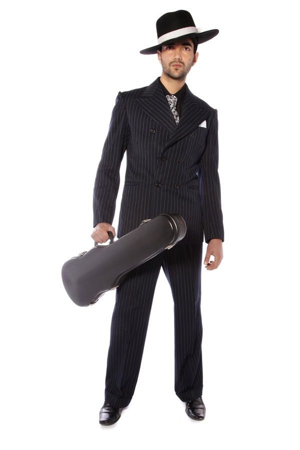 GANGSTER BLACK PINSTRIPE SUIT COSTUME