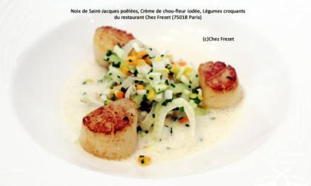 Noix de Saint-Jacques poêlées, Crème de chou-fleur iodée, Légumes croquants