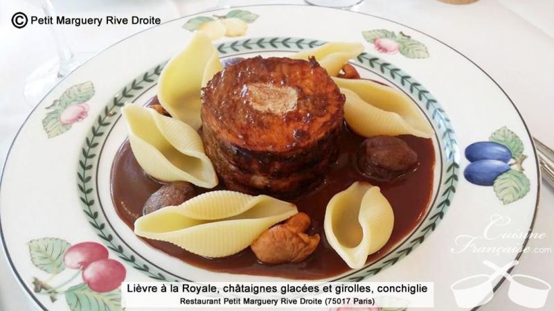 Lièvre à la Royale, châtaignes glacées et girolles, conchiglie