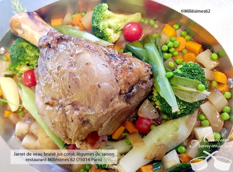 Jarret de veau braisé jus corsé, légumes de saison