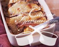 Gratin d'aubergines, mozzarella et jambon de Parme