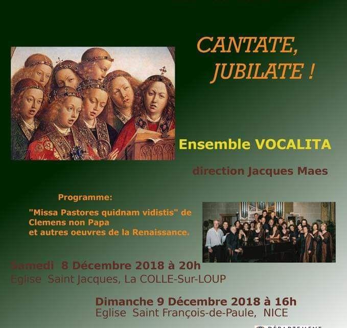 """Concert Vocal Musique Renaissance """"Cantate, Jubilate"""" à Nice"""