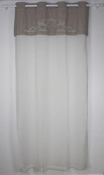 rideau lin blanc cantonniere beige 135 x 250 cm