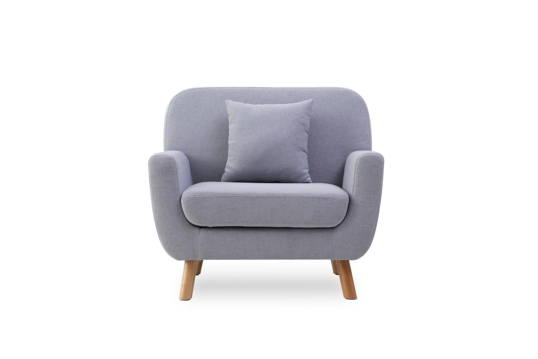 arya 1p gris clair fauteuil scandinave en tissu muni de pieds bois 1 coussin