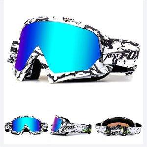 ihrkleid Moto Motocross Vent le masque anti-poussière Lunettes aviateur lunettes de snowboard lunettes de ski Lunettes de sport d'hiver de neige Dirt Bike Off Road Lunettes de protection, Weiß