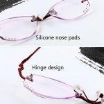 Zhhlaixing Lunettes de Lecture /de vue Vintage Fashion Gradient Color Fatigue-free Rimless Ladies Reading Glasses 1.0 2.0 2.50 pour Femme