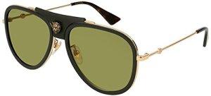 Gucci Lunettes de Soleil GG0062S BLACK LEATHER GOLD/GREEN femme