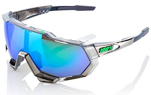 100% Speedtrap Lunettes Cyclisme Mixte Adulte, Chrome / Ecran Miroir Vert