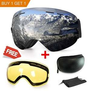 Masque de ski ou snowboard avec traitement anti-buée et protection anti-UV – Verres sphériques doubles interchangeables – Pour hommes, femmes et enfants, Silver