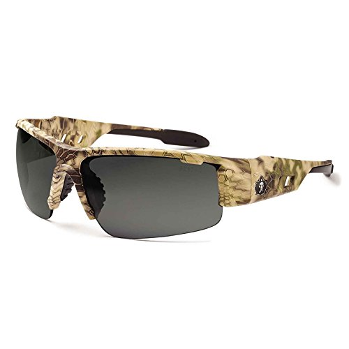 Ergodyne Skullerz Dagr Anti-Fog Safety Sunglasses- Kryptek Highlander Brown Camo Frame, Smoke Lens