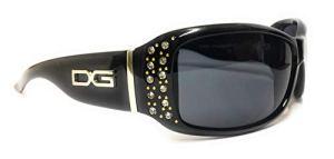 DG Eyewear DG Vienna Lunettes de soleil pour femme avec strass Protection UV 400 Étui inclus Noir