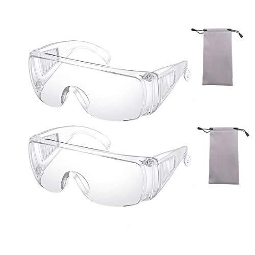 2 Pièces Clair Sécurité Lunettes Personnel Protecteur Équipement Transparent Lunettes UV Protection Adulte Sur des lunettes Pour Construction, Laboratoire, Cours de chimie