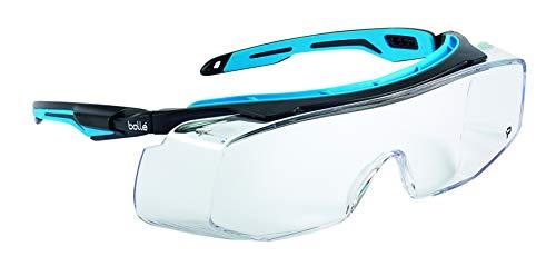 Bolle Safety Tryon (OTG Tyron Lunettes avec lentille transparente, Noir/bleu clair,