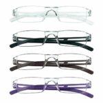 4 paires de lunettes de lecture, lunettes de blocage de lumière bleue, lunettes de lecture d'ordinateur pour femmes et hommes, monture de lunettes de mode rectangulaire (4 couleurs, 2.50)