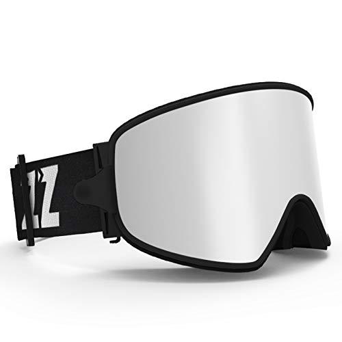 AOUVIK Lunettes de Ski 2 en 1 avec lentille magnétique à Double Usage pour Le Ski de Nuit Anti-buée UV400 Lunettes de Snowboard Hommes Femmes Lunettes de Ski,Argent