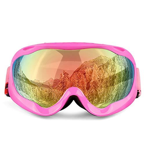 AOUVIK Lunettes de Ski Professionnelles, Double Couche de lentille Anti-buée UV400 Lunettes de Ski, Ski Hommes Femmes Lunettes de Neige,Rose