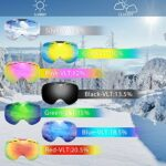 AOUVIK Lunettes de Ski sans Cadre avec lentille magnétique, Lunettes de Snowboard Anti-buée UV400 de Ski de Planche à roulettes, Lunettes de Ski Hommes Femmes Lunettes,D