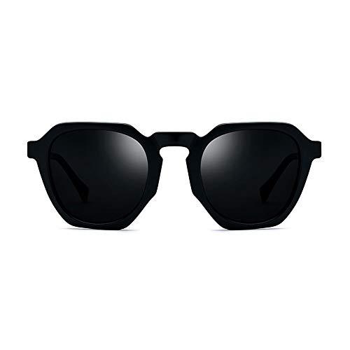 DKee Plaque Polygone Cadre Noir Lunettes De Soleil Polarisées Hommes Mode Lunettes Rétro Femme Gris Objectif Protection UV400