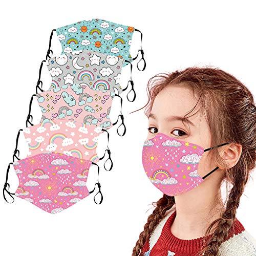 Marxways_ 5PC Visage_Masque Unisexe Enfants Coton Bandana de Visage imprimé étanche à la poussière Lavable réutilisable en Plein air Tissu Bandana