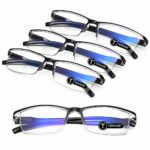 TERAISE 4PCS Mode anti-lumière bleue Lunettes de lecture Lunettes de lecture de qualité pour la lecture pour les hommes et les femmes Ordinateur/téléphone portable Lumière bleue bloquant(3.0X)