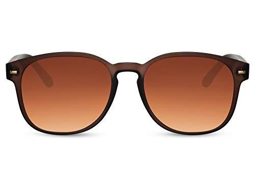 Cheapass Lunettes de soleil Sunglasses Rectangulaires Monture Marron avec Verres Foncés Dégradés Accessoire Hipster Hommes Femmes Protection UV400 de 100%
