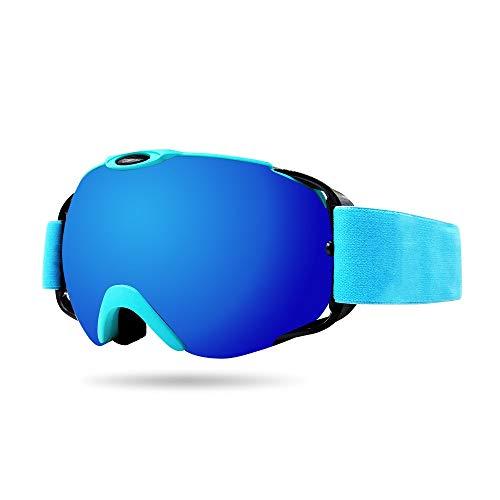 SWNN Puzzles Sports d'hiver Équipement Bleu Lunettes De Ski Cocker Myopie Double Frame TPU Anti-buée Grandes Lentilles Sphériques Cadeaux for Les Femmes Hommes D'extérieur Escalade
