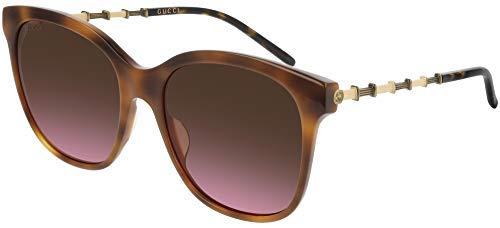 Gucci Lunettes de Soleil GG0654S HAVANA/BROWN PINK SHADED 56/19/145 femme