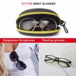 Étui à lunettes AkoaDa, (lot de 2) Étui à lunettes Étui rigide Femmes Hommes Boîte de protection portable avec crochet à glissière – Jaune