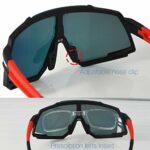 RUZER Pro Lunettes de soleil polarisées avec verres réfléchissants et protection UV 400 et 5 verres interchangeables pour VTT, hybride, course, vélo de route – Vert –