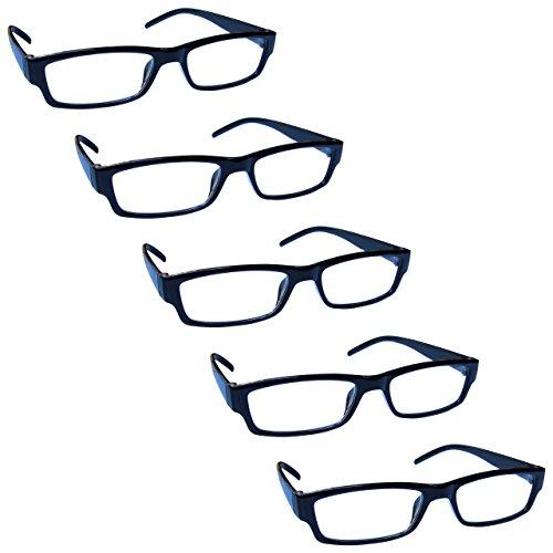 The Reading Glasses Lunettes de Lecture Noir Valeur Set de 5 Léger Hommes Femmes RRRRR32-1 +1,00