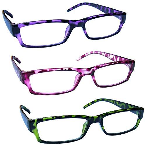 The Reading Glasses Lunettes de Lecture Pourpre Rose Vert Léger Confortable Lecteurs Valeur Set de 3 Hommes Femmes RRR32-546 +1,50