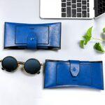 Étui à lunettes de soleil en cuir PU de haute qualité, étui de rangement pour lunettes à la main rétro portable, étui de voyage pour lunettes de soleil pour hommes-noir