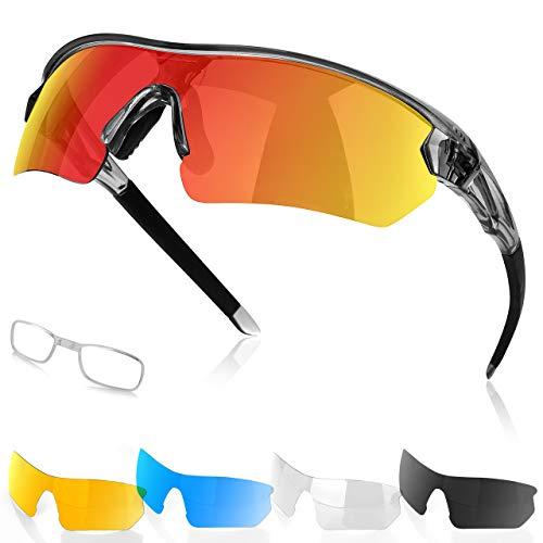 Fitfirst Lunettes de Soleil Polarisées – Lunettes de Cyclisme Femmes Hommes Protection UV 400 avec 5 lentilles Interchangeables – Lunettes de Sport pour Sports de Plein Air Cyclisme Moto Course Golf