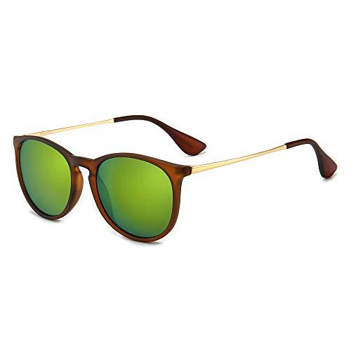 SUNGAIT Lunettes de Soleil Rondes Vintage pour Femmes Classique Retro Designer Style (Brown Cadre Fini Mat / Jaune-Vert Lens) -SGT567 CKHL