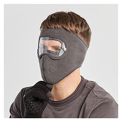 Masque en Daim de Masque Facial Chaud à Vent Coupe-Vent HD Goggles Chapeau de Ski de Masque Anti-Brouillard Chaud (Color : Gray)