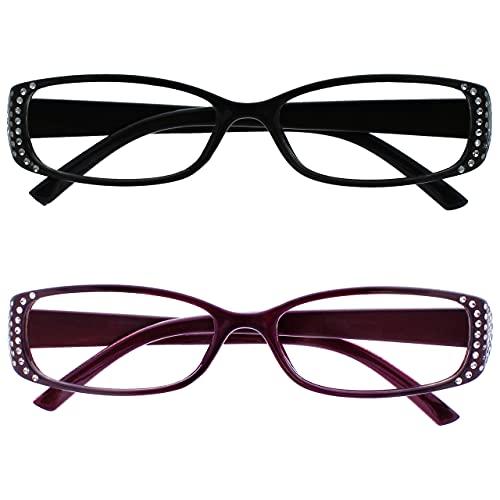UV Reader Lunettes de Lecture Noir Pourpre Diamonte Style Valeur Pack 2 Femmes Dames UVR2093Bk_P +3,50